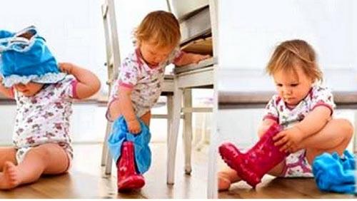 Ребенок в 1 и 3 года сам одевается
